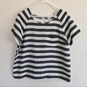Merona Black & White Striped Short Sleeve Top XL